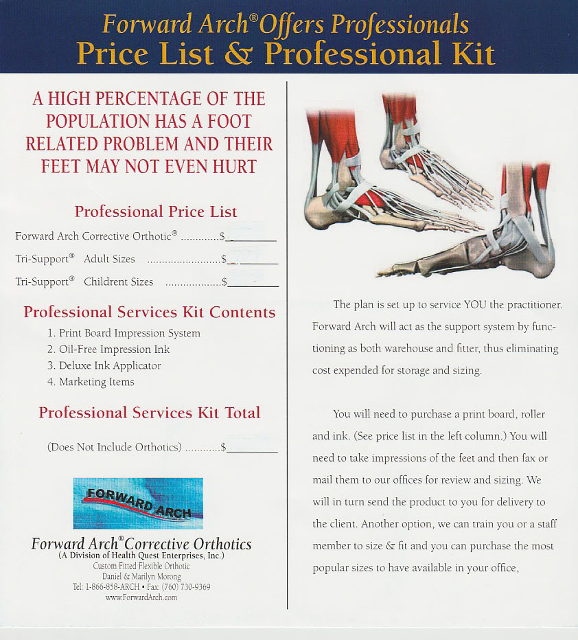 Forward Arch price list professional kit