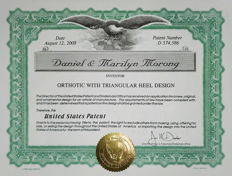 Forward Arch orthotic patent certificate
